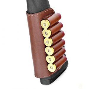 CKG  3 Genuine Leather Buttstock Ammo Holder Shotshell Carrier | Shotgun Shell Cover 6 (20) Gauge | Ammo Pouch Bag Stock Shotgun Shell Holder | Dark Brown