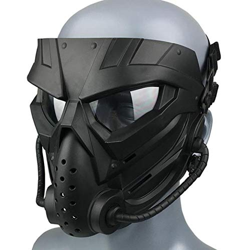 JFFCESTORE Airsoft Mask 1 JFFCESTORE Original Creation Tactical Anti-Fog Airsoft Mask with Clear Lens Protective Full Face mask Dual Mode Wearing Design Adjustable Strap for Airsoft Paintball Cosplay Costume Party Hockey