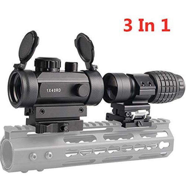Luger Airsoft Gun Sight 1 Luger Tactical 1x40mm Red Green Dot Sight + 3X Magnifier Scope with Quick Detach Flip to Side + QD 5 Slots Rail Riser Combo Kit