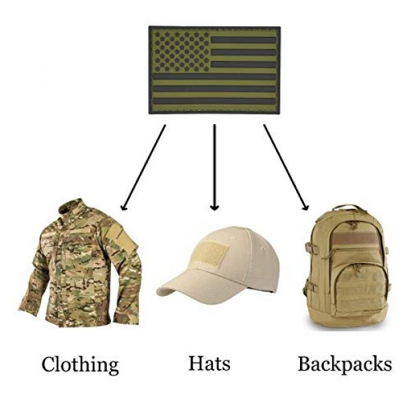 Great 1 Products Airsoft Patch 4 Great 1 Products American Flag Patch Set, 2x3 inch, PVC with Velcro Backing, Hook and Loop, Military and Tactical Accessory for Clothing-Jackets-Hats-Backpacks (Earth Tone Flags)