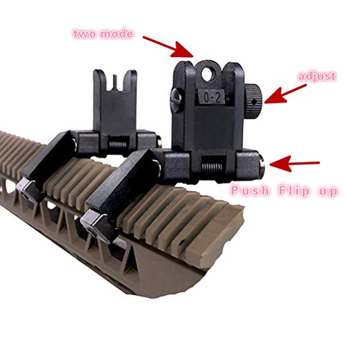 IORMAN Airsoft Gun Sight 2 IORMAN Ultralight Flip Up Sight 45 Degree Offset Rapid Transition Front and Backup Rear Sight