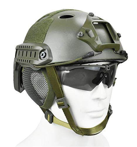 JFFCESTORE Airsoft Helmet 3 Tactical Airsoft Military Paintball Metal Mesh Side Cover with Ear Protection for FAST Helmet (Not including helmet)