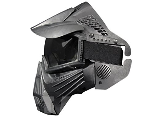 A&N Airsoft Mask 3 A&N Full Face Mask Airsoft Paintball Sports Protection with Goggles Attached Black