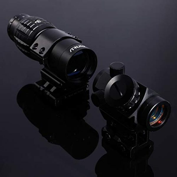 Pinty Airsoft Gun Sight 7 Pinty Tactical 3-4 MOA Red Dot Sight Scope with 3X Magnifier Combo