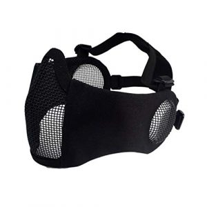 Topbuti Airsoft Mask 1 Topbuti Airsoft Mask Black Foldable Tactical Airsoft Mesh Mask with Ear Protection Half Face Lower Mask for Youth Adults Men Women