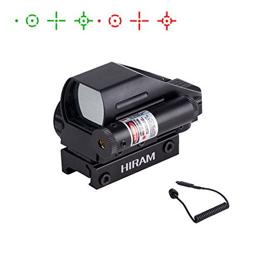 HIRAM Airsoft Gun Sight 1 HIRAM 1x22x33 Holographic Reflex Scope Sight with 4 Reticles Red and Green Dot with Red Laser