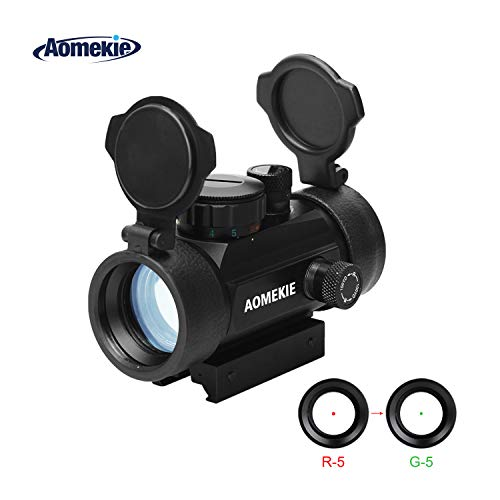 AOMEKIE Airsoft Gun Sight 1 AOMEKIE Airsoft Red Dot Sight Reflex Sight Rifle Scope 30mm Multi-Coated Lens with 22mm/11mm Weaver Picatinny Rail Mount for Hunting Shooting