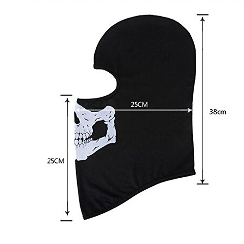 Zzoo Airsoft Mask 4 ZZoo Cotton Ghost Mask Skull Heads Warm Scarf Outdoor Cycling Dust Mask Halloween Cosplay Costume (Black)