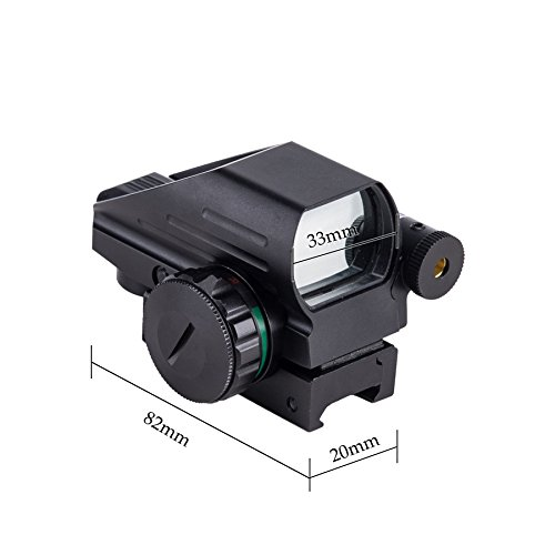 HIRAM Airsoft Gun Sight 2 HIRAM 1x22x33 Holographic Reflex Scope Sight with 4 Reticles Red and Green Dot with Red Laser