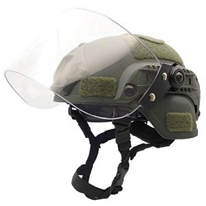Will Outdoor Airsoft Helmet 1 Lightweight Quick-Protection Helmet Mich 2000 with Anti-Riot Sunshade Sliding Goggles and Side Rail NVG Bracket.