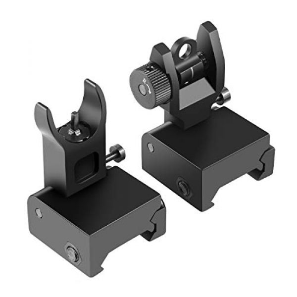 OTW Airsoft Gun Sight 1 OTW Flip Up Iron Sights Flip Up Front Sight + Back Up Rear Sight Mounts Set for Gun Rifle Handgun Airsoft