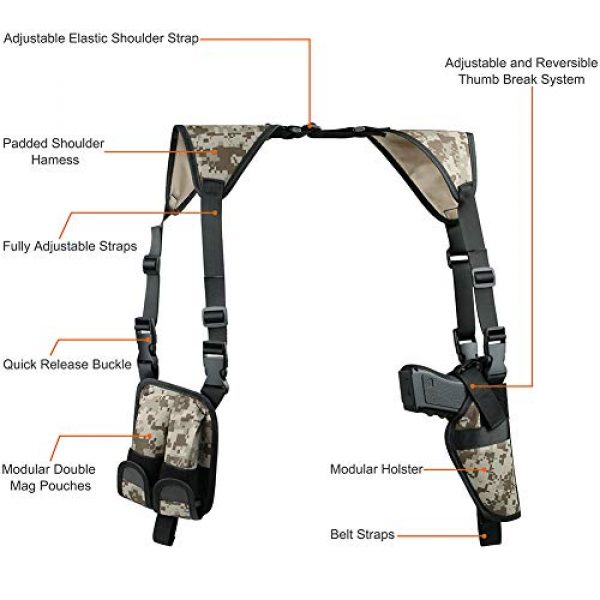 TW TWOD  2 Twod Shoulder Holster Ambidextrous Vertical Concealed Carry Shoulder Holster with Dual Magazine Holder Fits Most Pistols or Handgun