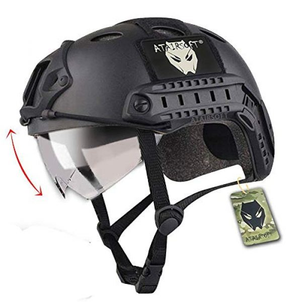 ATAIRSOFT Airsoft Helmet 1 ATAIRSOFT PJ Type Tactical Multifunctional Fast Helmet with Visor Goggles Version Black