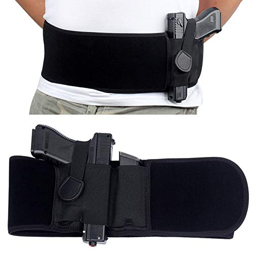 UNKNOK  1 UNKNOK Belly Band Holster Fit Most Gun Comfortable Hidden Tactical Holster Left and Right Universal Waistband Handgun Carry for Concealed Carry IWB Gun Holsters for Men and Women