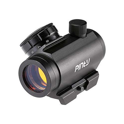 Pinty Airsoft Gun Sight 2 Pinty 1x25mm Tactical Red Dot Sight 3-4 MOA Compact Red Dot Scope 1 Riser Mount for Cowitness with Iron Sights Waterproof and Shockproof Scratch Resistant Amber Lens