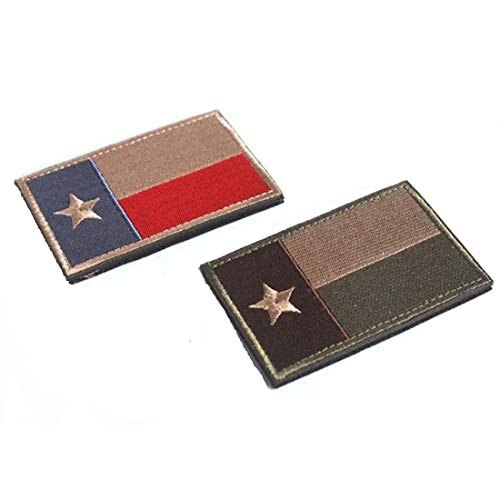 Homiego Airsoft Patch 4 Homiego Texas State Flag Military Tactical Morale Desert Badge Hook & Loop Embroidery Patch for Hat Backpack Jacket (Texas State Flag - B)