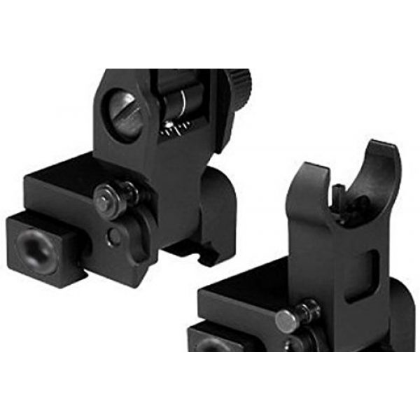 Front and Rear Iron Sights Tactical Set for Picatinny / Weaver Rails Flattop