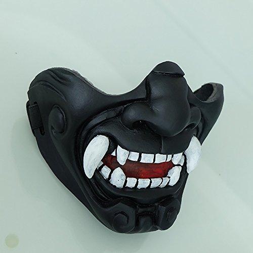 tripple_777 Airsoft Mask 3 tripple_777 Custom Halloween Costume Cosplay BB Gun Kabuki Samurai Evil Demon Oni Airsoft Mask Black MA233
