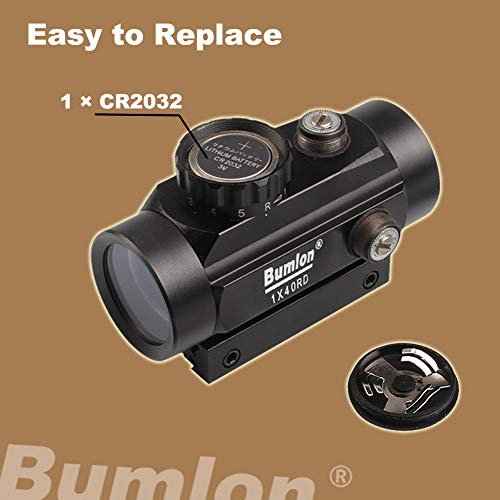 Bumlon Airsoft Gun Sight 4 Bumlon Red Green Dot Sight Rifle Scope Reflex Holographic Optics Tactical Fits 11mm/ 20mm Rail with Flip up Lens Cover for Airsoft Gun
