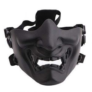 Fansport Airsoft Mask 1 Fansport Airsoft Mask Protective Fashion Half Face Mask Outdoor Game Mask Tactical Prajna Half Face Hannya Oni Motorcycle Evil Demon Knight for Halloween Cosplay