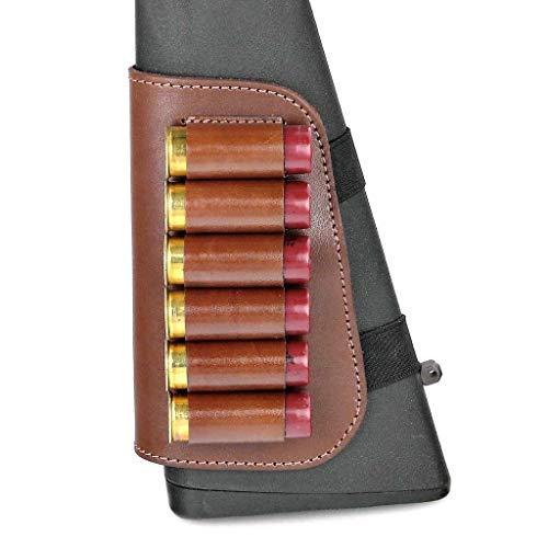 CKG  5 Genuine Leather Buttstock Ammo Holder Shotshell Carrier | Shotgun Shell Cover 6 (20) Gauge | Ammo Pouch Bag Stock Shotgun Shell Holder | Dark Brown