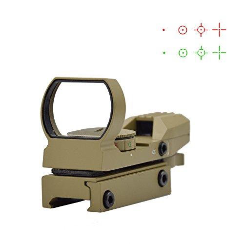 Feyachi Airsoft Gun Sight 1 Feyachi 1x33mm Reflex Sight - Dark Earth Tan Scope Sight Both Red and Green & 4 Reticals for Picatinny/Weaver Rails