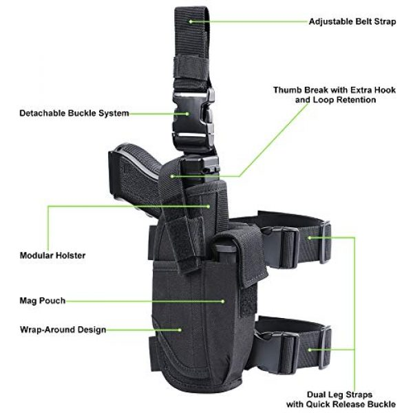 XAegis  2 XAegis Drop Leg Holster for Pistols Tactical Thigh Rig Gun Holster with Magazine Pouch Adjustable Right Handed