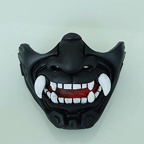 tripple_777 Airsoft Mask 2 tripple_777 Custom Halloween Costume Cosplay BB Gun Kabuki Samurai Evil Demon Oni Airsoft Mask Black MA233