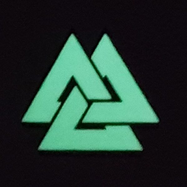 Tactical Freaky Airsoft Morale Patch 4 Glow Dark Viking Valknut Norse 2x2 GITD Tactical Morale Fastener Patch