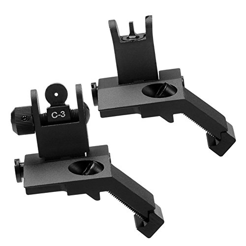 HWZ Airsoft Gun Sight 2 HWZ New Tactial Front and Rear Flip up 45 Degree Offset Rapid Transition Backup Iron Sight Universal 20mm Picatinny Weaver
