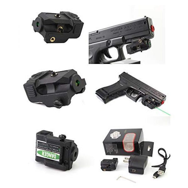 TPO Airsoft Gun Sight 4 TPO GL01 Green Laser Sight Fit Picatinny Rail with Rechargeable Battery for Pistols & Handguns