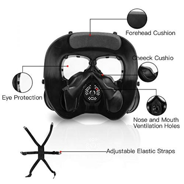 Full Face Eye Protection Skull Dummy Toxic Gas Mask with Adjustable Strap for BB Gun CS Cosplay Costume Halloween Masquerade(No Batteries)