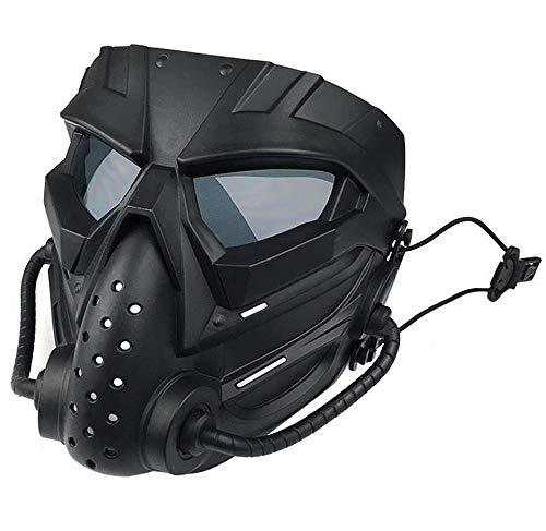 JFFCESTORE Airsoft Mask 2 JFFCESTORE Original Creation Tactical Anti-Fog Airsoft Mask with Clear Lens Protective Full Face mask Dual Mode Wearing Design Adjustable Strap for Airsoft Paintball Cosplay Costume Party Hockey