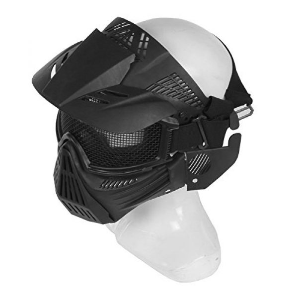A&N Airsoft Airsoft Mask 6 WoSporT Tactical Transformers Leader Mask Steel Mesh Breathable Full Face Safety CS Field Airsoft Wargame Paintball Army Masks - Black