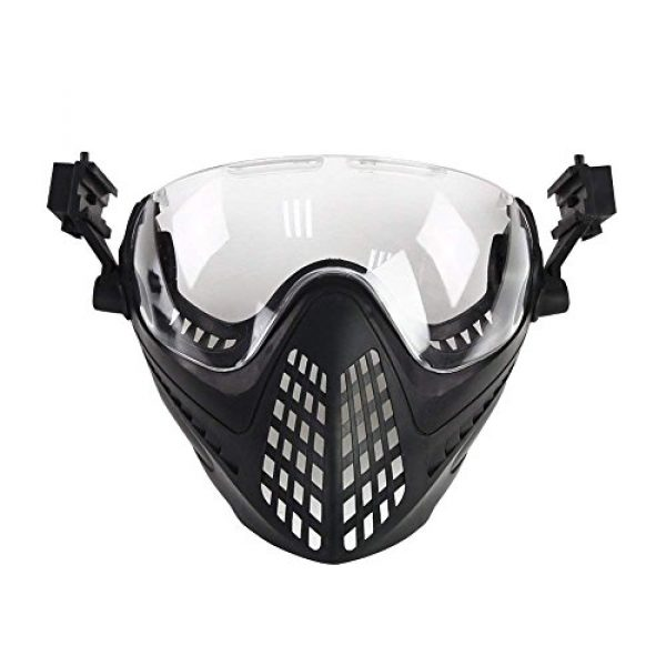 Wildoor Airsoft Helmet 4 Airsoft Helmet Tactical Fast PJ Type with Removable Full Face Mask Goggles for Hunting Shooting CS Game Wargame Military Black