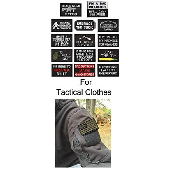 WZT Airsoft Morale Patch 6 WZT 14 Pieces Funny Tactical Morale Military Patch Full Embroidery Patch Set for Caps,Bags,Backpacks,Clothes,Vest,Military Uniforms,Tactical Gears Etc.