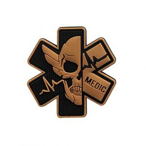 Zhikang68 Airsoft Patch 1 Medic Patch 3D PVC Rubber Paramedic Medical EMS EMT MED First Aid Morale Tactical Morale Skull Military Hook Fasteners Badge (Black Yellow)