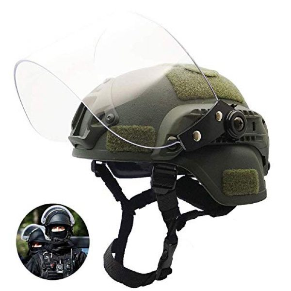 Will Outdoor Airsoft Helmet 7 Lightweight Quick-Protection Helmet Mich 2000 with Anti-Riot Sunshade Sliding Goggles and Side Rail NVG Bracket.