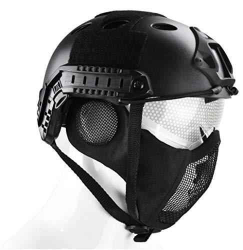 JFFCESTORE Airsoft Helmet 4 JFFCESTORE PJ Type Tactical Multifunctional Fast Helmet and Foldable Adjustable Half Mesh Mask