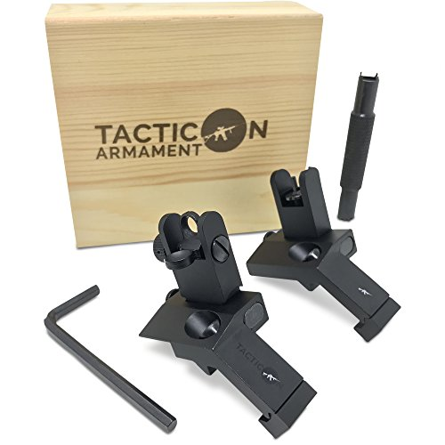Tacticon Armament Airsoft Gun Sight 1 TACTICON 45 Degree Offset Flip Up Iron Sights for Rifle Includes Front Sight Adjustment Tool | Rapid Transition Backup Front and Rear Iron Sight BUIS Set Picatinny Rail and Weaver Rails