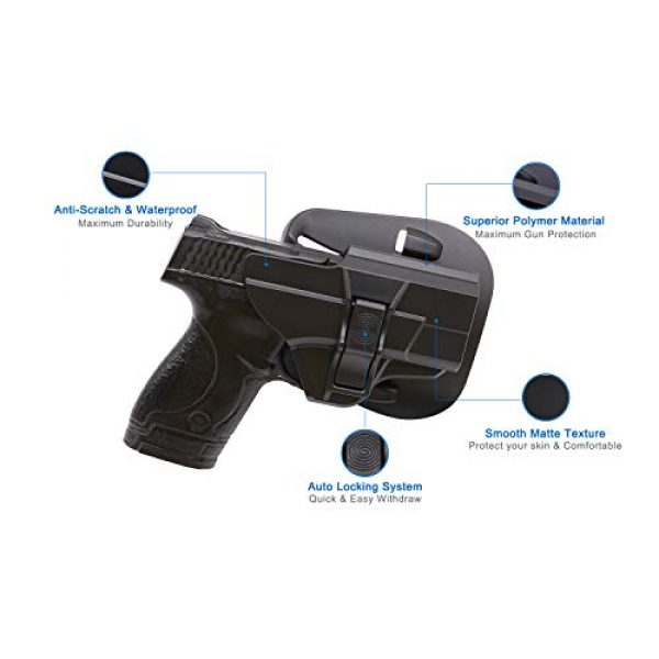Tactical 60 ° Adjustable Outside Waistband Paddle Holster with Fast Draw-Right Handed