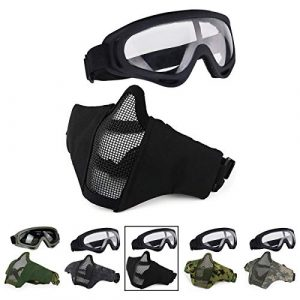 Aoutacc Airsoft Mask 1 Aoutacc Airsoft Half Face Mesh Mask and Goggles Set for CS/Hunting/Paintball/Shooting
