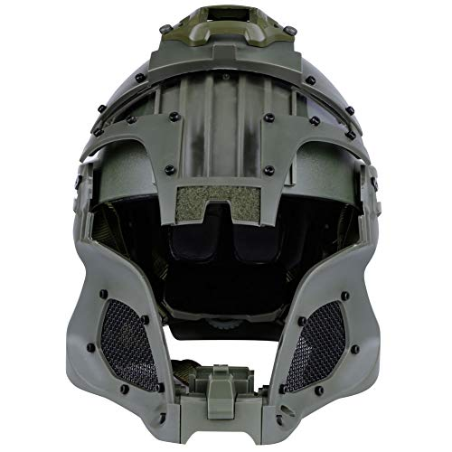 Brave outdoor Airsoft Helmet 5 Tactical Helmet Protection Fast Helmet Full Face Mesh Goggles for Airgun Paintball Mask CS Outdoor Activities Military Movie