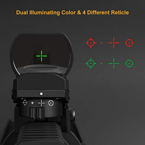 Red & Green Illuminated 4 Reticles Red Dot Sight Gun Sight with 20mm Picatinny Rail