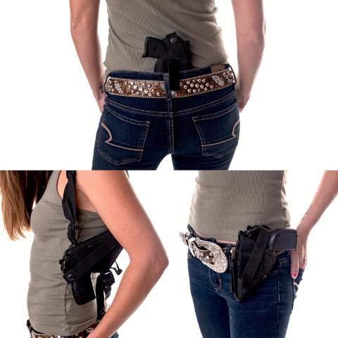 "Holster Chicks  1 Gun Holster Buy 1 get 2 Free Shoulder/Concealed/Hip IWB FITS Ruger Security-9 9MM Luger 4"" Barrel Smith & Wesson SW9VE 5900 Glock 30 19 23 Kahr CW 40 Taurus 24/7 Springfield XD9 45 357 Issc M22 5"