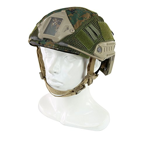 ATAIRSOFT Airsoft Helmet 2 ATAIRSOFT Airsoft Tactical Military Combat Helmet Cover for PJ/BJ/MH Type Fast Helmet Back Pouch (DW)