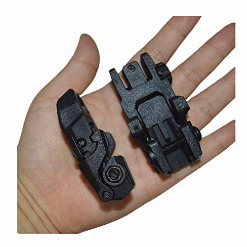 HWZ Airsoft Gun Sight 6 HWZ Tactical Folding Front & Rear Set Flip Up Backup Sights BUIS Black