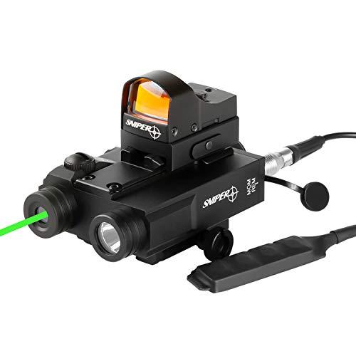 Sniper Airsoft Gun Sight 2 Sniper FL2000R Green Laser Sight with LED Flashlight Combo W/Red Dot Reflex Sight