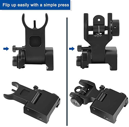 Feyachi Airsoft Gun Sight 3 Feyachi Flip Up Rear Front and Iron Sights Best Backup fits Picatinny & Weaver Rails Black
