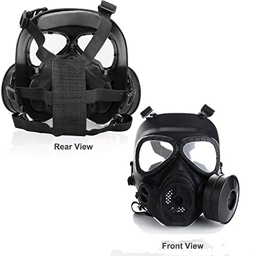 Full Face Eye Protection Skull Dummy Game Mask with Dual Filter Fans Adjustable Strap for BB Gun CS Cosplay Costume Halloween Masquerade
